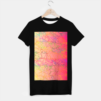 Thumbnail image of geometric line art abstract background in pink yellow green blue T-shirt regular, Live Heroes