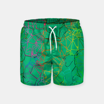 Thumbnail image of geometric line art abstract background in green yellow blue Swim Shorts, Live Heroes