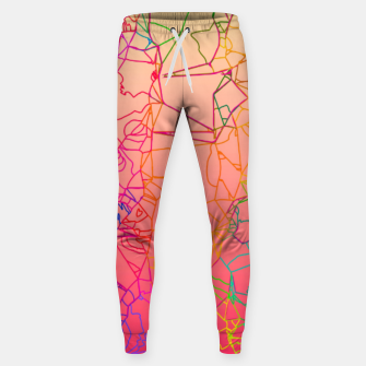 Thumbnail image of geometric line art abstract background in pink yellow green blue Sweatpants, Live Heroes
