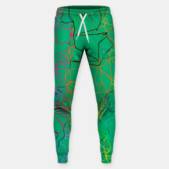 Thumbnail image of geometric line art abstract background in green yellow blue Sweatpants, Live Heroes