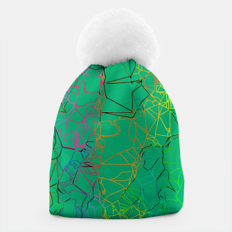 Thumbnail image of geometric line art abstract background in green yellow blue Beanie, Live Heroes