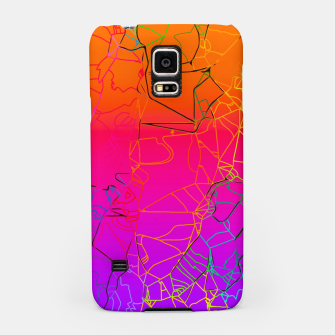 Thumbnail image of geometric line art abstract background in purple pink orange blue Samsung Case, Live Heroes