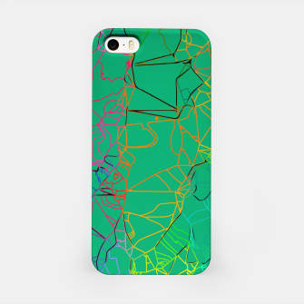 Thumbnail image of geometric line art abstract background in green yellow blue iPhone Case, Live Heroes