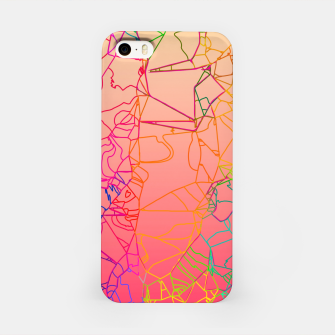Thumbnail image of geometric line art abstract background in pink yellow green blue iPhone Case, Live Heroes