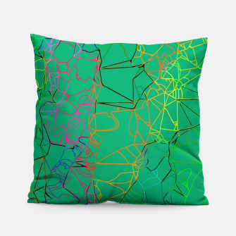 Thumbnail image of geometric line art abstract background in green yellow blue Pillow, Live Heroes