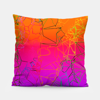 Thumbnail image of geometric line art abstract background in purple pink orange blue Pillow, Live Heroes
