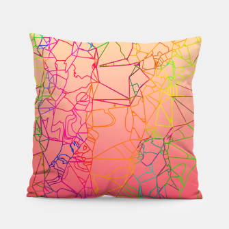 Thumbnail image of geometric line art abstract background in pink yellow green blue Pillow, Live Heroes