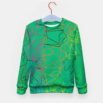 Thumbnail image of geometric line art abstract background in green yellow blue Kid's sweater, Live Heroes