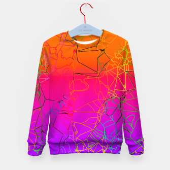 Thumbnail image of geometric line art abstract background in purple pink orange blue Kid's sweater, Live Heroes