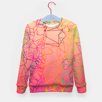 Thumbnail image of geometric line art abstract background in pink yellow green blue Kid's sweater, Live Heroes