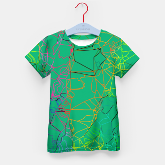 Thumbnail image of geometric line art abstract background in green yellow blue Kid's t-shirt, Live Heroes