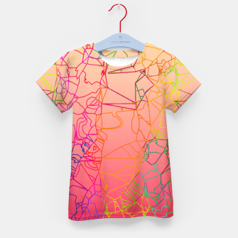 Thumbnail image of geometric line art abstract background in pink yellow green blue Kid's t-shirt, Live Heroes