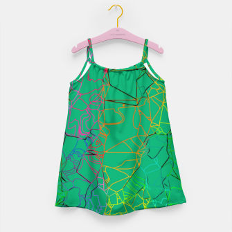 Thumbnail image of geometric line art abstract background in green yellow blue Girl's dress, Live Heroes
