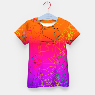 Thumbnail image of geometric line art abstract background in purple pink orange blue Kid's t-shirt, Live Heroes