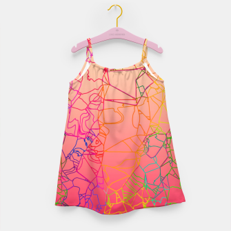 Thumbnail image of geometric line art abstract background in pink yellow green blue Girl's dress, Live Heroes