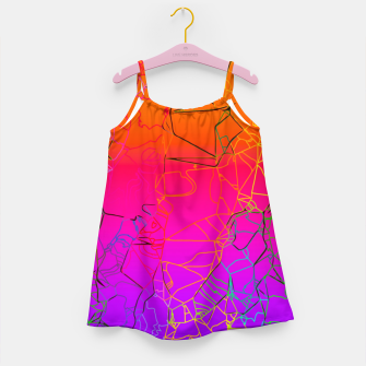 Thumbnail image of geometric line art abstract background in purple pink orange blue Girl's dress, Live Heroes
