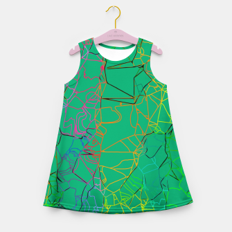 Thumbnail image of geometric line art abstract background in green yellow blue Girl's summer dress, Live Heroes