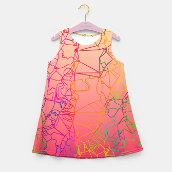 Thumbnail image of geometric line art abstract background in pink yellow green blue Girl's summer dress, Live Heroes