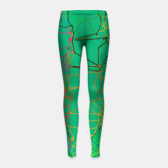 Thumbnail image of geometric line art abstract background in green yellow blue Girl's leggings, Live Heroes