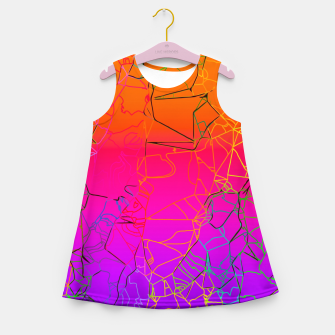 Thumbnail image of geometric line art abstract background in purple pink orange blue Girl's summer dress, Live Heroes