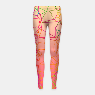 Thumbnail image of geometric line art abstract background in pink yellow green blue Girl's leggings, Live Heroes