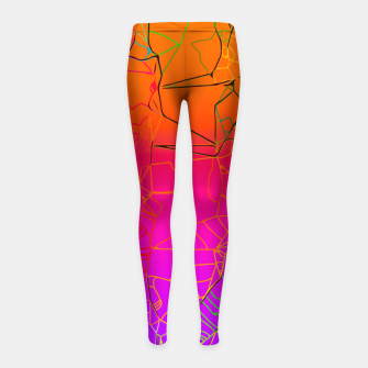 Thumbnail image of geometric line art abstract background in purple pink orange blue Girl's leggings, Live Heroes