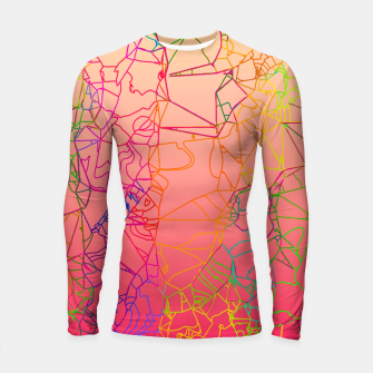 Thumbnail image of geometric line art abstract background in pink yellow green blue Longsleeve rashguard , Live Heroes