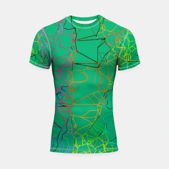 Thumbnail image of geometric line art abstract background in green yellow blue Shortsleeve rashguard, Live Heroes