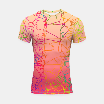 Thumbnail image of geometric line art abstract background in pink yellow green blue Shortsleeve rashguard, Live Heroes