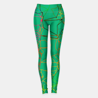 Thumbnail image of geometric line art abstract background in green yellow blue Leggings, Live Heroes