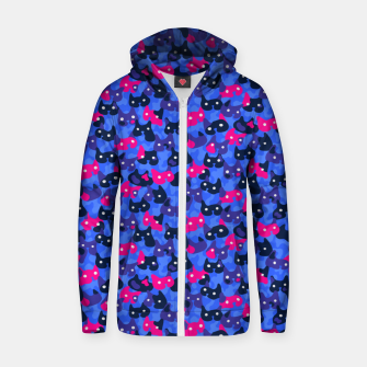 Thumbnail image of Ghostly camouflaging cats are watching you in neon Zip up hoodie, Live Heroes