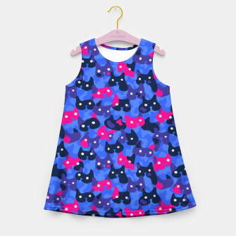 Thumbnail image of Ghostly camouflaging cats are watching you in neon Girl's summer dress, Live Heroes