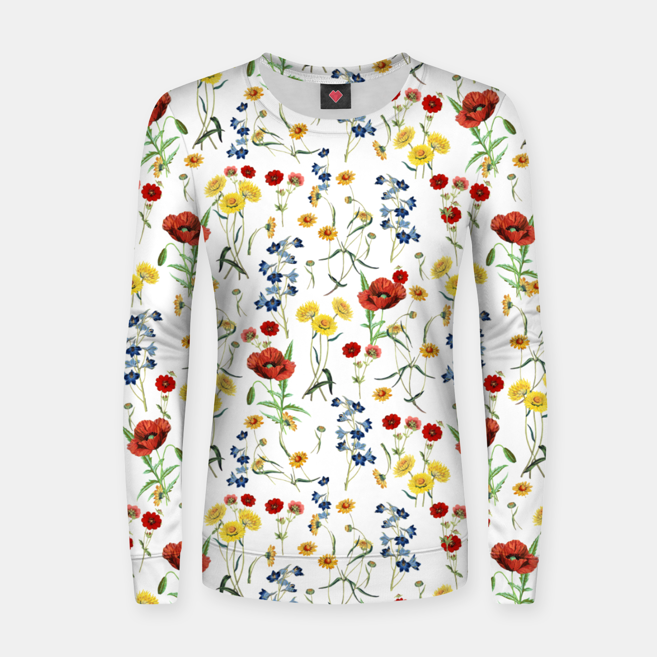 Image of Vintage Wildflowers Pattern on White Women sweater - Live Heroes