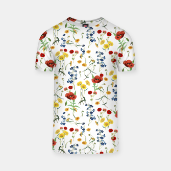 Miniatur Vintage Wildflowers Pattern on White T-shirt, Live Heroes