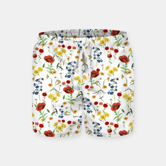 Miniatur Vintage Wildflowers Pattern on White Swim Shorts, Live Heroes