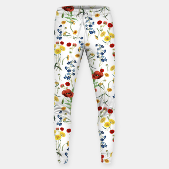 Miniatur Vintage Wildflowers Pattern on White Sweatpants, Live Heroes