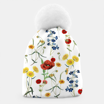 Miniatur Vintage Wildflowers Pattern on White Beanie, Live Heroes