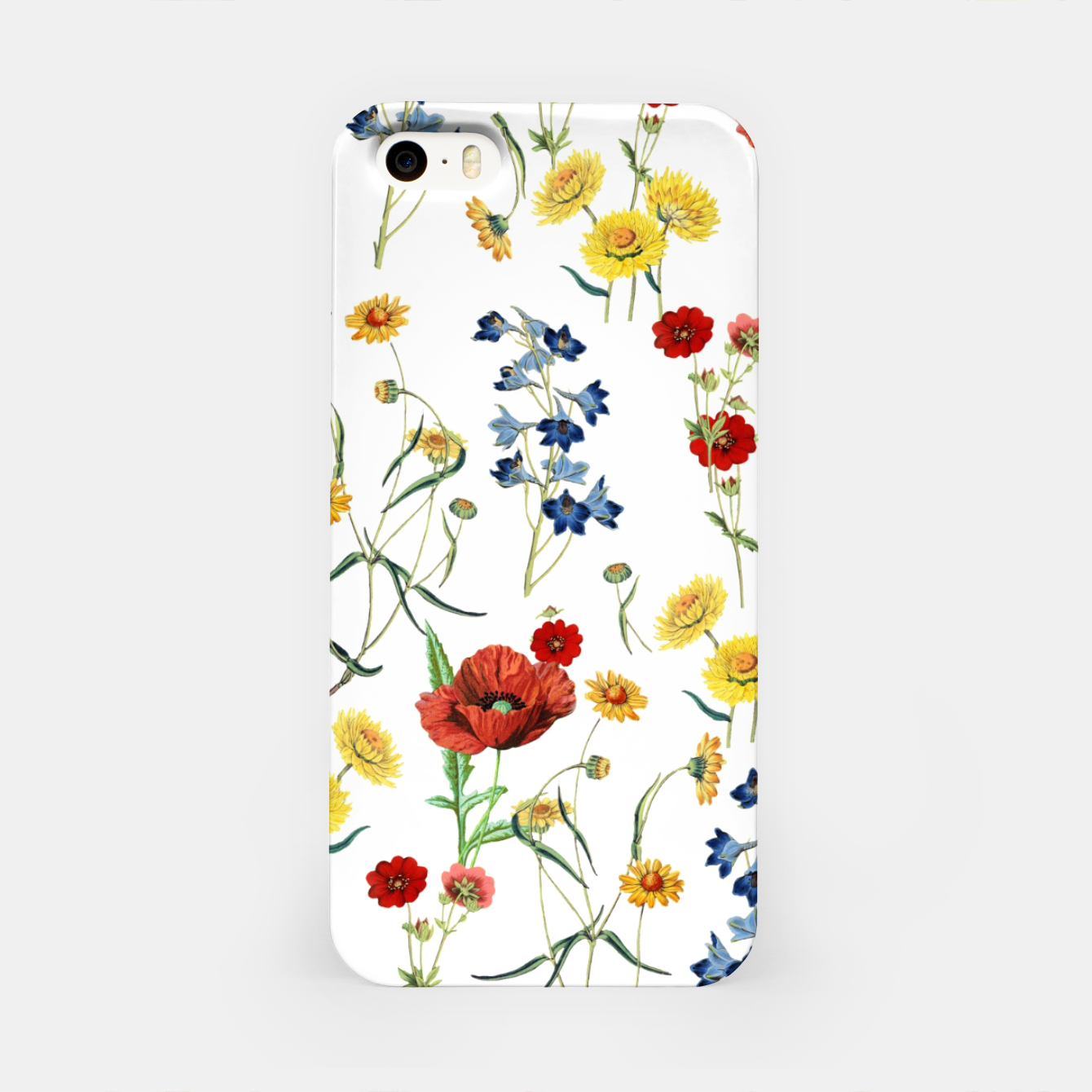 Image of Vintage Wildflowers Pattern on White iPhone Case - Live Heroes