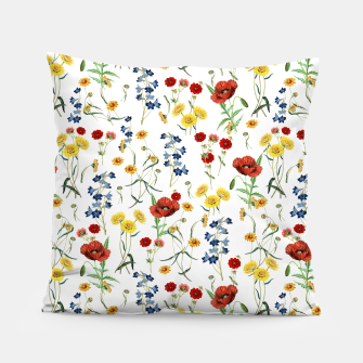 Miniatur Vintage Wildflowers Pattern on White Pillow, Live Heroes