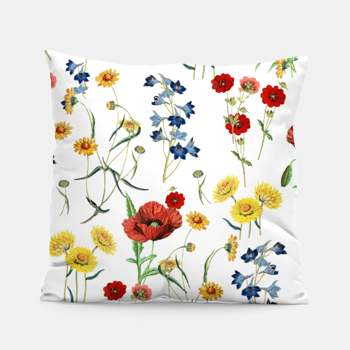 Image of Vintage Wildflowers Pattern on White Pillow - Live Heroes