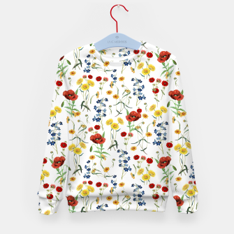Miniatur Vintage Wildflowers Pattern on White Kid's sweater, Live Heroes