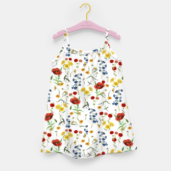 Miniatur Vintage Wildflowers Pattern on White Girl's dress, Live Heroes