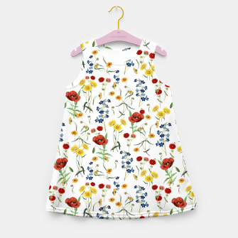 Miniatur Vintage Wildflowers Pattern on White Girl's summer dress, Live Heroes
