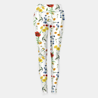 Miniatur Vintage Wildflowers Pattern on White Leggings, Live Heroes