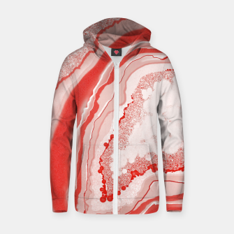 Thumbnail image of Coral Pink Agate Gem Abstract Zip up hoodie, Live Heroes
