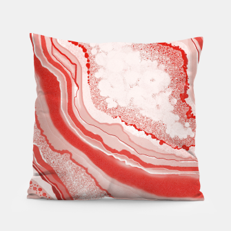 Thumbnail image of Coral Pink Agate Gem Abstract Pillow, Live Heroes