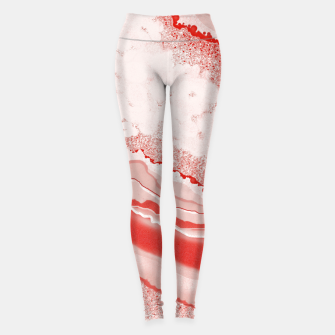 Thumbnail image of Coral Pink Agate Gem Abstract Leggings, Live Heroes