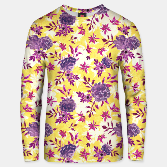 Thumbnail image of Romantic Vibrant Yellow Purple Floral Unisex sweater, Live Heroes