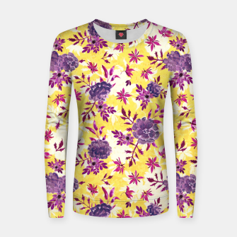 Thumbnail image of Romantic Vibrant Yellow Purple Floral Women sweater, Live Heroes
