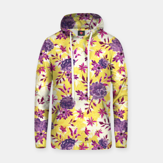 Thumbnail image of Romantic Vibrant Yellow Purple Floral Hoodie, Live Heroes